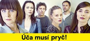 Lutz Hübner: Úča musí pryč! Hrají: Igor Chmela, Kateřina Winterová, Petra Špalková, Linda Rybová, Jana Janěková ml. a David Prachař